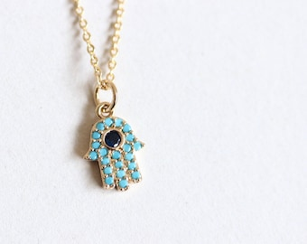 Minimal Sparkling Turquoise Hamsa 18K Gold Plated Necklace, Delicate Turquoise Sapphire CZ Necklace, Golden Hand Protection Necklace, Charm