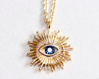 Midcentury Evil Eye Necklace with Blue CZ, Celestial Evil Eye, Night Sky Jewelry 18k Gold Plated, Good Luck Pendant, Talisman, Protection