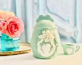 Vintage Jasperware Sage Green Cameo Porcelain Jar w Lid- FREE DOMESTIC SHIPPING