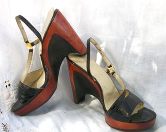 9419ef804e2 Bare Traps ~ Wood Wedges ~ Strappy ~ Slingback Strap ~ Black and Mahogany  Tone ~ Vintage Shoes ~ Size 8 M
