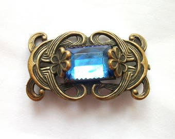 Vintage - Art Nouveau - Brooch - Blue Glass Rhinestone - Flower Accents