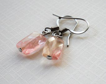 Small Rose Quartz Earrings - Surgical Steel Wires