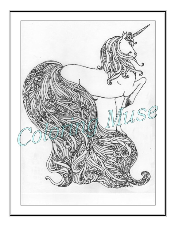 Unicorn Coloring Page Printable Coloring Page Adult Coloring Etsy