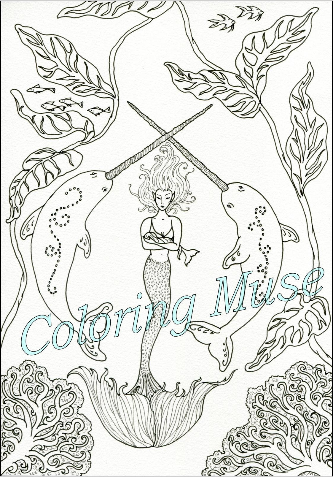 Narwhal coloring page mermaid coloring page mythical creatures printable coloring page