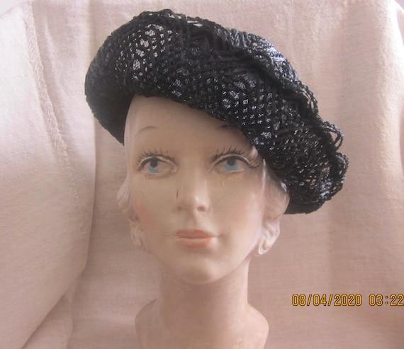 Vintage Black Cellophane hat, Summer hat, Straw h… - image 1
