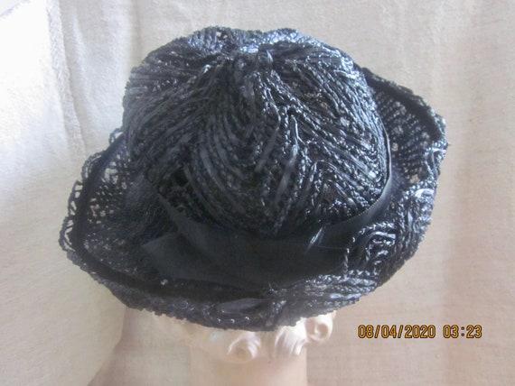 Vintage Black Cellophane hat, Summer hat, Straw h… - image 6