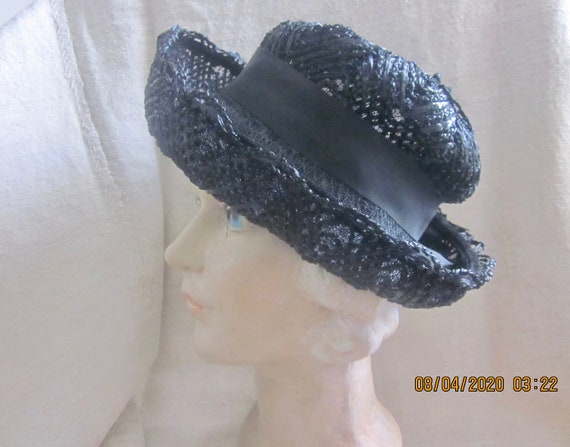 Vintage Black Cellophane hat, Summer hat, Straw h… - image 2