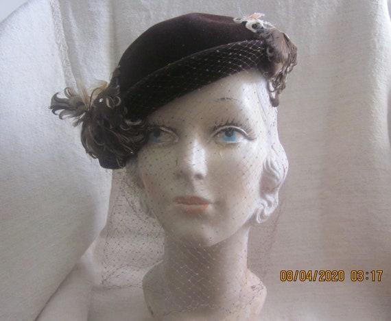 Vintage 1930s Cocktail Hat,1930s millinery, feathe