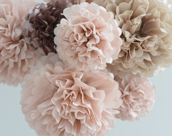 d41d50d599a Dusty pink and rose gold 15 large tissue paper Pom Poms - bridal