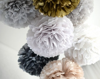 New year party decoration set | 30 mixed size tissue paper pom poms set | Christmas party decor