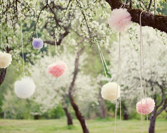 Tissue paper pom pom | Paper flowers | Wedding decoration| Hanging pom poms