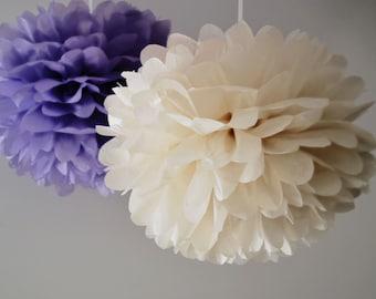 2 Large Tissue paper PomPoms - custom colors - party decorations / wedding decor / nursery decor / hanging decorations /tissue paper pom pom