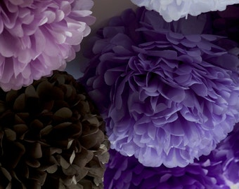 Purple and grey  - 15 mixed sizes Tissue paper Pom Poms set  - paper pompoms -very fluffy -wedding party  decorations