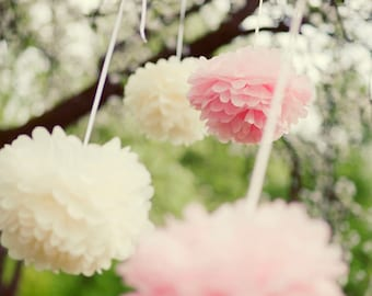 15 Large 37cm Tissue PAPER POM POMS set - wedding decorations -  pick your colors from 64 shades - very fluffy