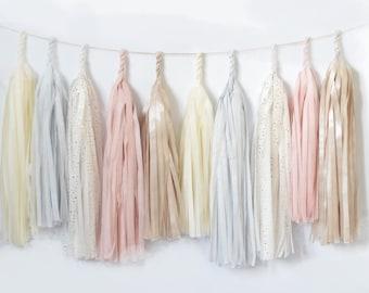 Blush paper tassel garland - Wedding garland - Pastel wedding banner -Wedding decoration - Nursery garland