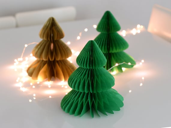 Vintage Style Christmas Tree Honeycomb Decorations Custom Color Party Decor Paper Xmas Decorations Festive Home Decor New Year