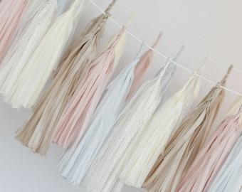 DIY paper tassel garland kit - Custom colors/ Tissue paper tassels / wedding party decorations