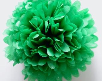 "1 pom in EMERALD GREEN gemstines- sparkling tissue paper pompom  19"" 14"" 10"" 8"" 6"" 4""- party wedding decorations"