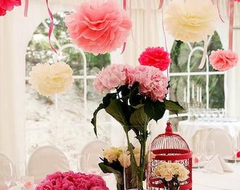 Paper pom pom set: 46 mixed size - PomPoms - pick your colors - wedding decorations- party decor -barn wedding- outdoor wedding-venue decor