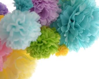 20 mixed sizes Tissue paper PomPom party set- 3 sizes - pick your colors + ribbon -wedding party decorations - paper flowers - lantern poms