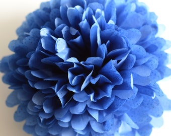 1 pom in Blue reflections sparkling tissue paper pompom - party wedding decorations - with shiny diamonds