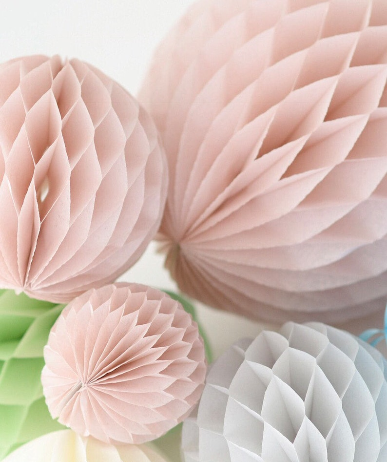 Several Colours Available 20CM Peach 8 Pack of 3 Paper Honeycomb Balls