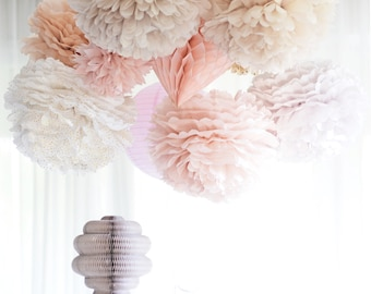 Dusty blush.. 32 mixed size value  Tissue paper  Pom Poms set  | Wedding  decorations | Party  Bridal Shower |  Birthday |  Decorations