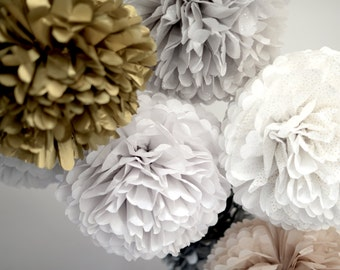 1 pom in Medium size SPARKLING / METALLIC  tissue paper pompoms - wedding party decorations