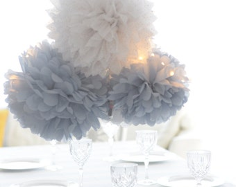 Dusty blue.. 16 mixed size Tissue paper  Pom Poms set  Wedding  Party Bridal Shower Birthday Nursery Decorations
