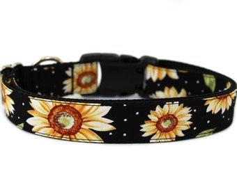 """Sunflower Dog Collar 1"""" or 1.5"""" Fall Dog Collar Flower Dog Collar"""
