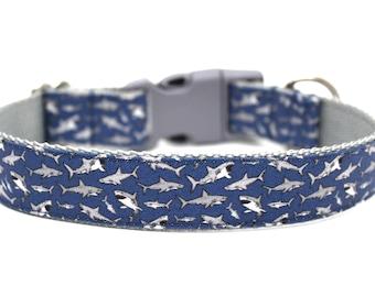 """Shark Dog Collar 3/4"""" or 1"""" Boy Dog Collar"""