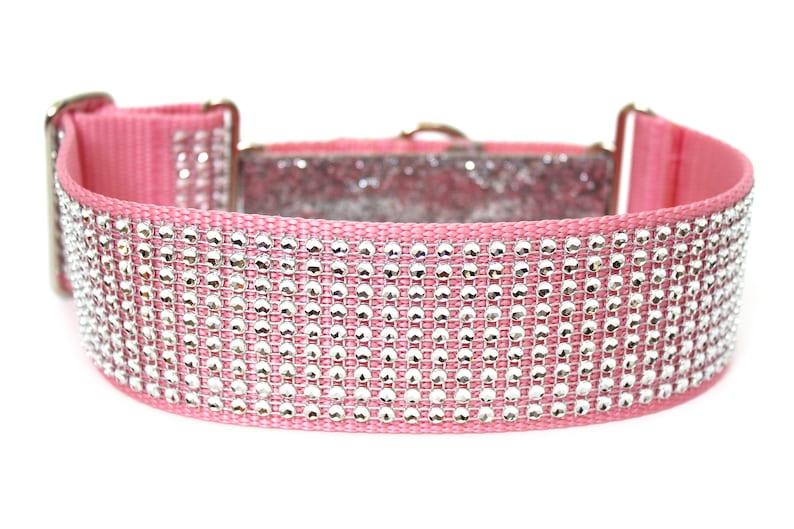 Rhinestone Martingale Dog Collar 2 Pink Glitter Dog image 0