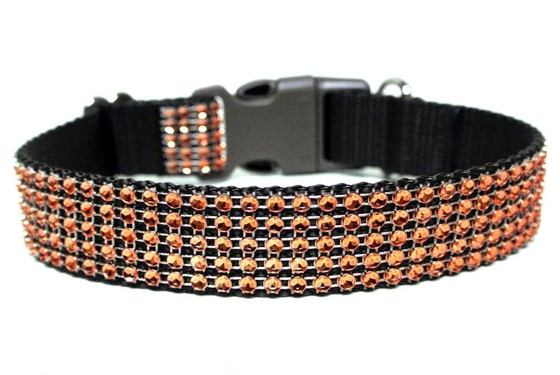 Fall Dog Collar 1 Orange Rhinestone Dog Collar image 0