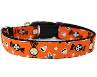 """Halloween Dog Collar 3/4"""", 1"""" or 1.5"""" Candy Dog Collar"""