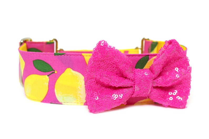 Dog Collar Bow Add-On Bright Pink Sparkle Bow for Dogs image 0