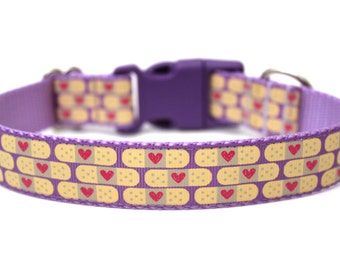 "Therapy Dog Collar 1"" Size Small *Ready To Ship* Purple Dog Collar"