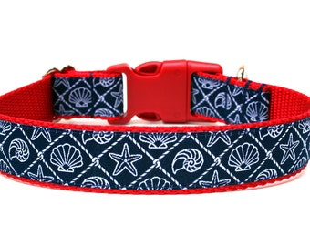 """Nautical Dog Collar 1"""" Beach Dog Collar"""