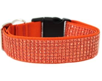 "Rhinetone Dog Collar 3/4 "" 1"" or 1.5"" Orange Dog Collar"