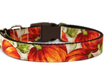 """Pumpkin Dog Collar 1"""" or 1.5"""" Fall Dog Collar Plaid Dog Collar"""