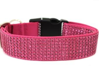 "Rhinetone Dog Collar  1"" or 1.5""  Sparkle Dog Collar"
