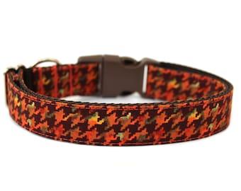"Fall Dog Collar 3/4"" or 1"" Houndstooth Dog Collar"
