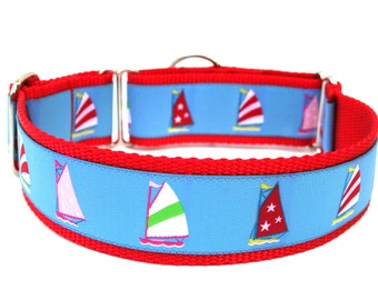 "Summer Dog Collar 1.5"" Nautical Dog Collar Sailboats"