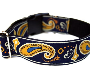 "Navy Blue Dog Collar 1.5"" Paisley Dog Collar"