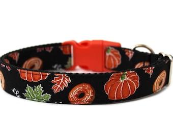 """Pumpkin Dog Collar 1"""" Fall Dog Collar Donut Dog Collar"""