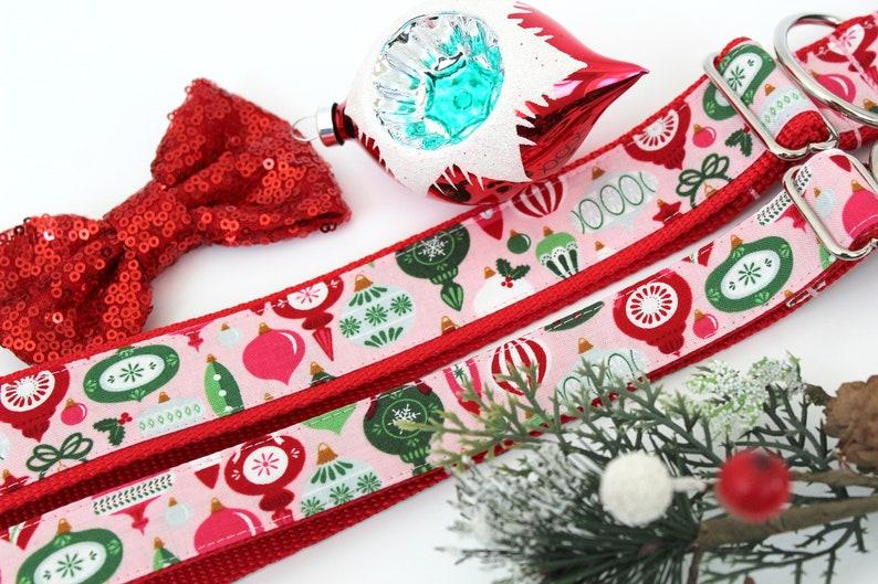 Vintage Christmas Dog Collar 1 or 1.5 Christmas Dog Collar Pink Christmas Dog Collar