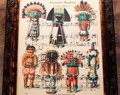 Native American Kachina Dolls Art Print from 1894 on Antique Music Book Page