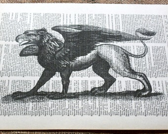 Vintage Mythical Griffin Art Print on Vintage Dictionary Book Page