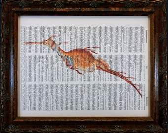 Sea Dragon Art Print from 1865 on Dictionary Book Page