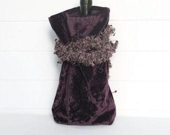 Wine Bag Gift Bag Aubergine Purple Velvet