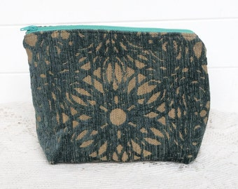 Makeup Bag Case Teal Cut Velvet